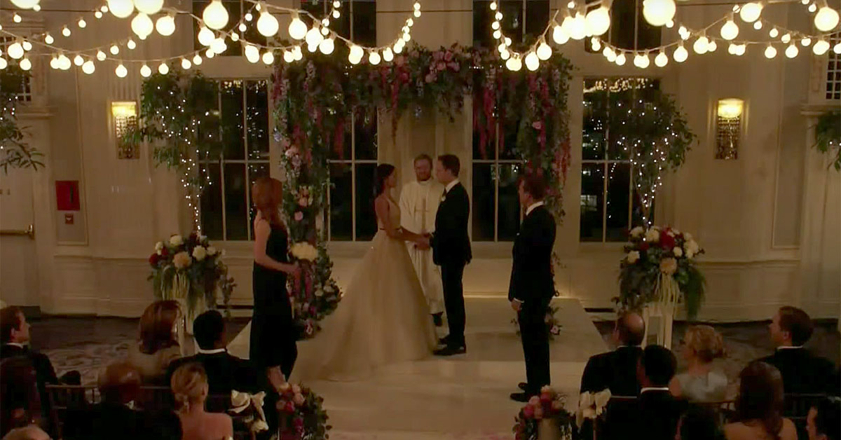 Suits wedding scene