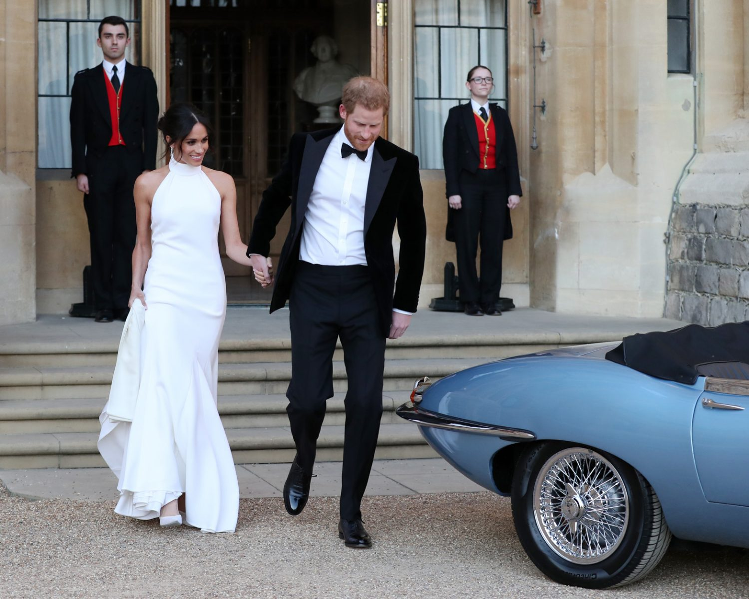 Windsor United Kingdom May 19 Ss Of Sus And Prince Harry Duke Leave Castle After Their Wedding To Attend An Evening Reception