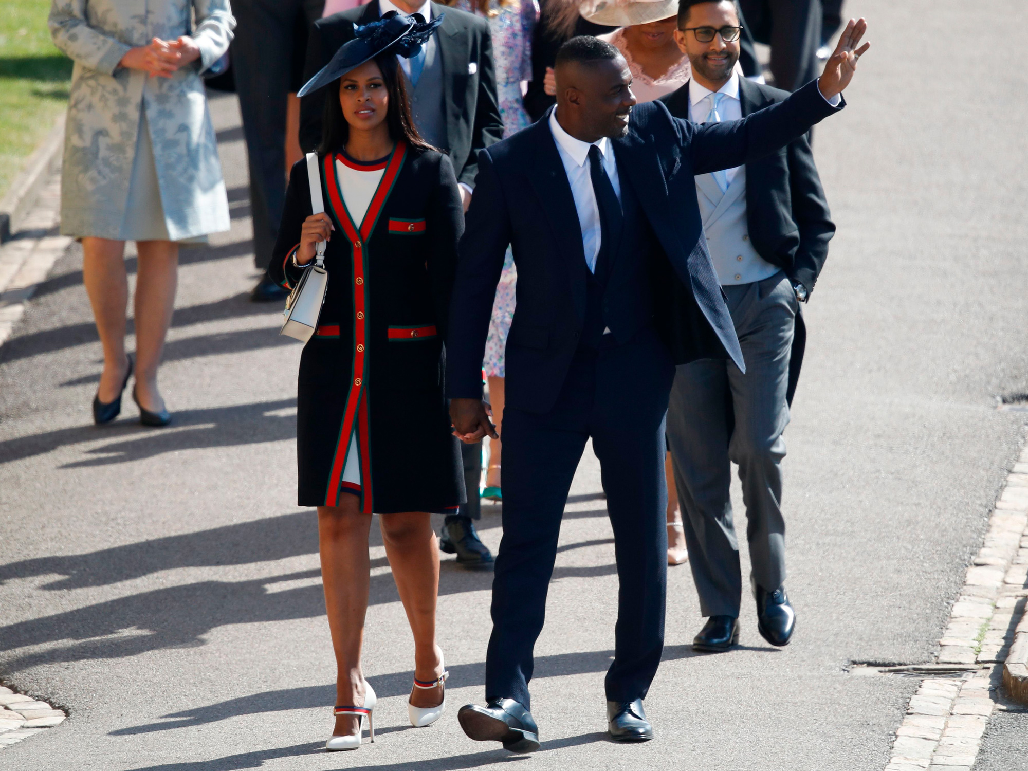 99add81491089 British actor Idris Elba (R) arrives with his fiancee Sabrina Dhowre (L)  for the wedding ceremony of Britain s Prince Harry