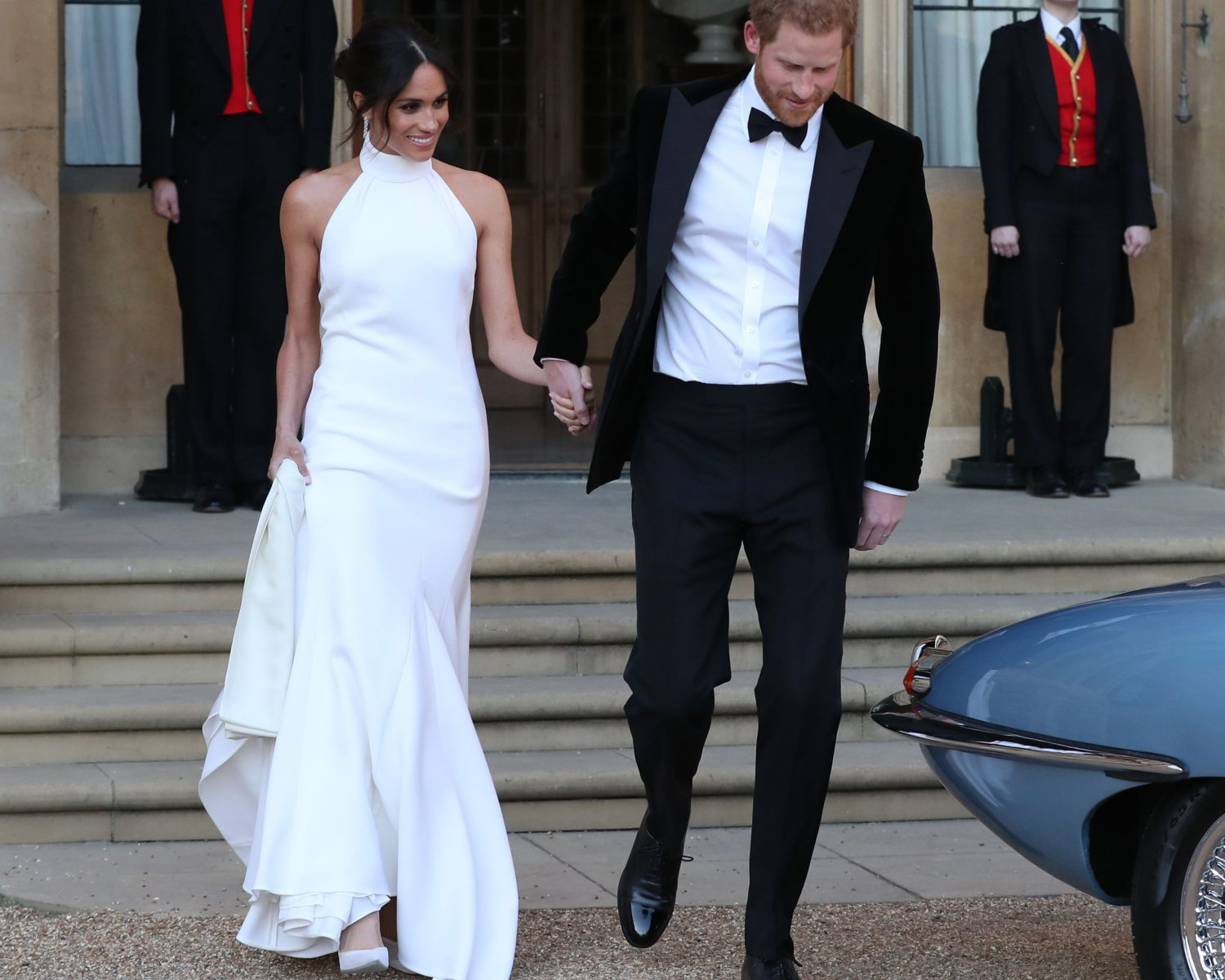 Meghan markle steps out in her second wedding dress for 2nd wedding dress for reception