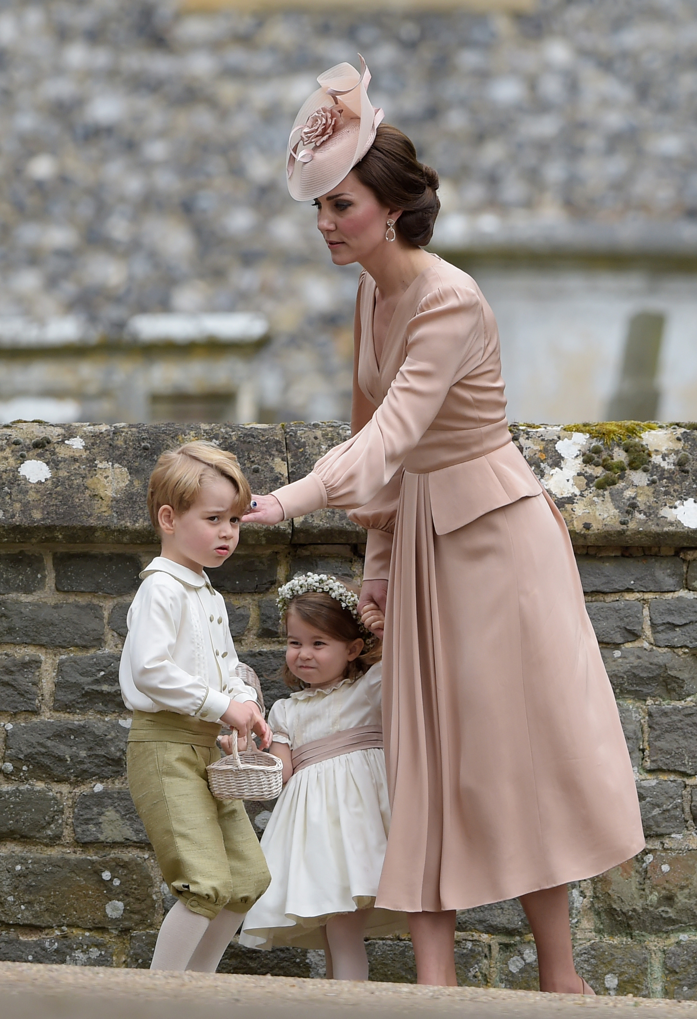 Catherine Duchess of Cambridge with her children Prince George and Princess Charlotte Wedding of James Matthews and Pippa Middleton, St Mark's Church, Englefield, UK - 20 May 2017