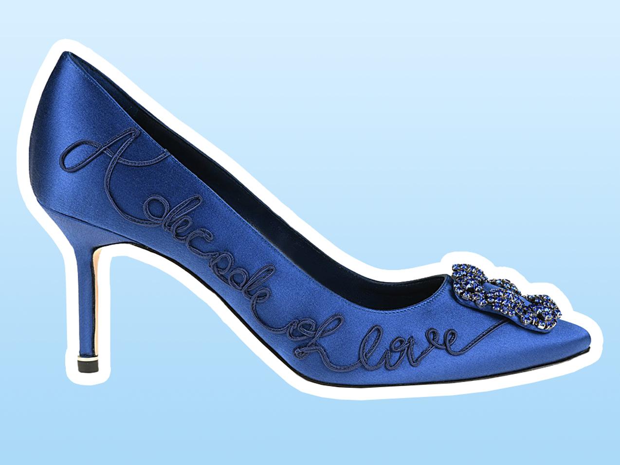 """60b8cf6aff0 Manolo Blahnik Redid Its Iconic """"Something Blue"""" Shoe for Its 10th ..."""