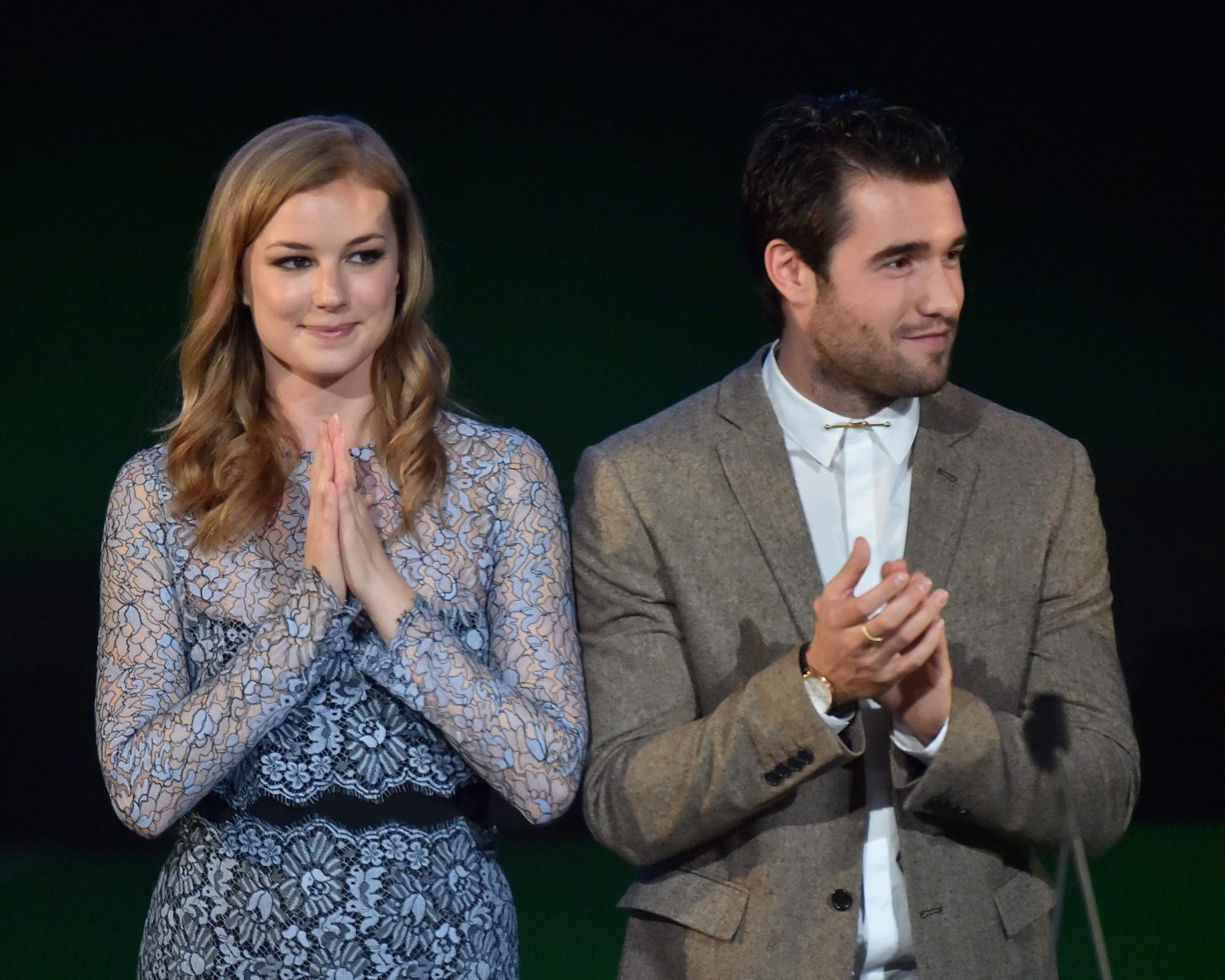 Actors Emily VanCamp and Joshua Bowman