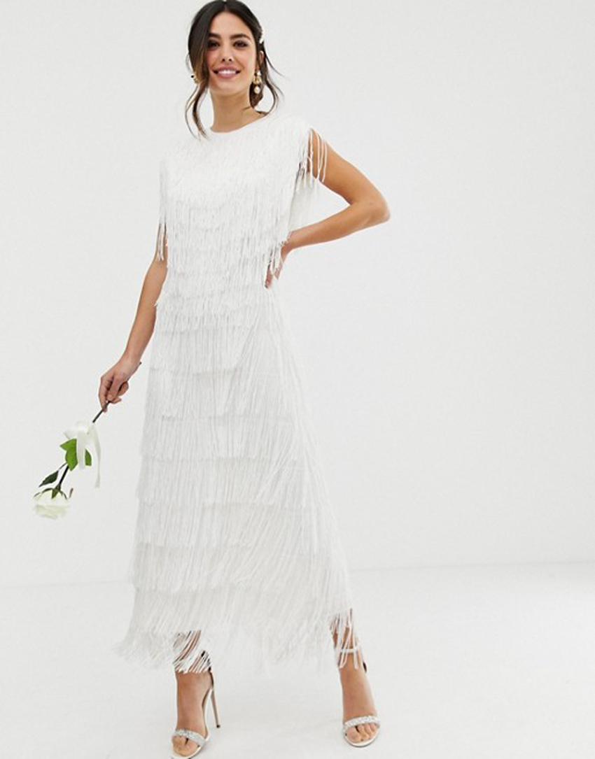 1ee9f2f9514 This vintage-inspired fringey frock is a perfect rehearsal dinner or wedding  dress. (Credit  ASOS). ASOS Edition fringe maxi ...