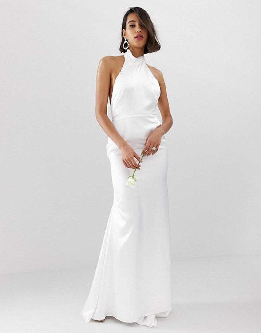 380c964095 Channel Meghan Markle in this effortlessly sexy halter gown. (Credit  ASOS).  ASOS Edition halter backless maxi wedding ...
