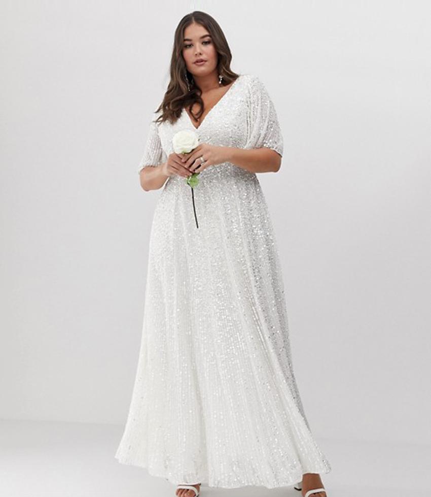 dd4c47a5e6 (Credit  ASOS). ASOS Edition Curve flutter sleeve sequin maxi wedding dress  ...