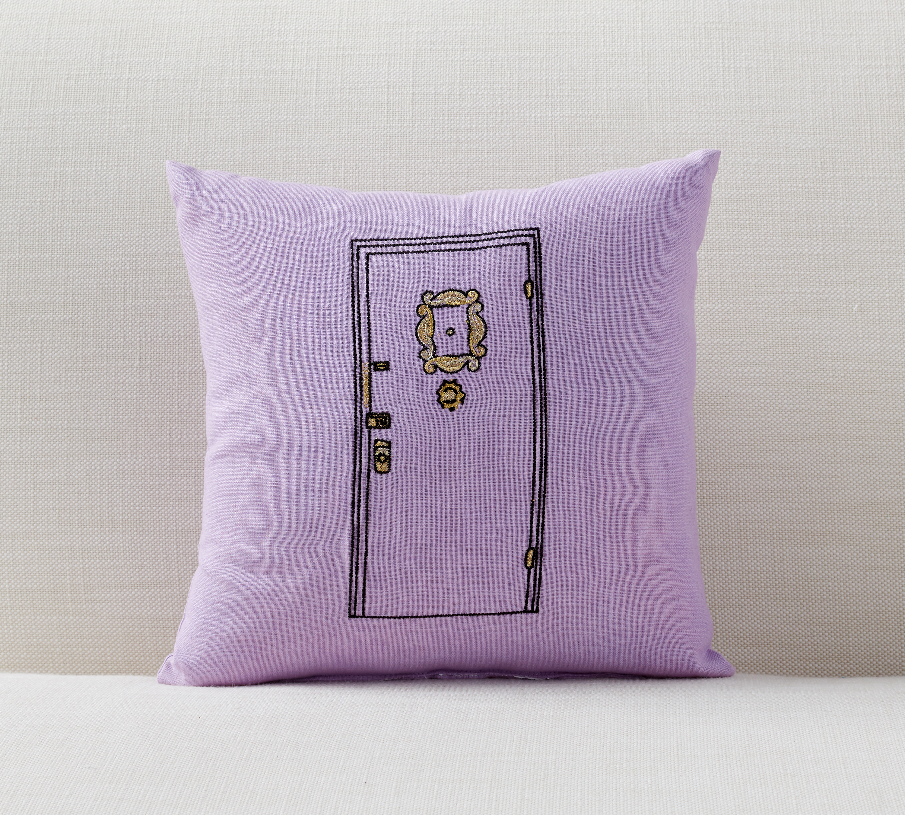 Purple apartment door pillow