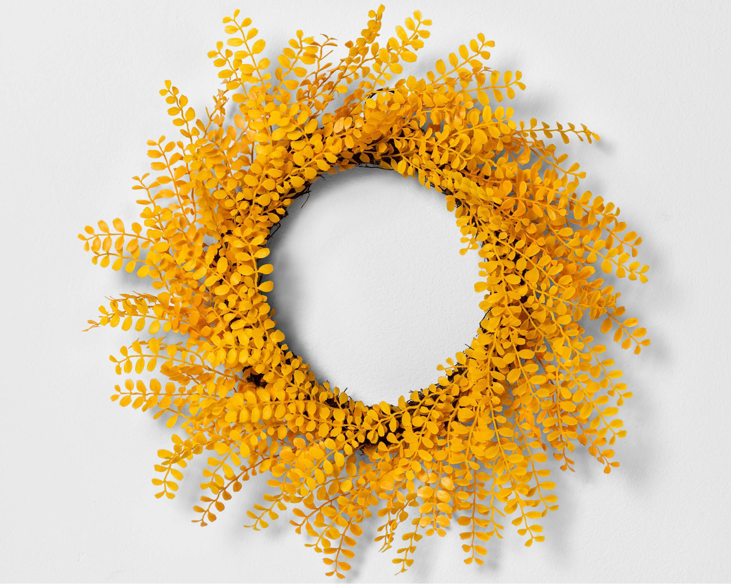 yellow faux flower wreath