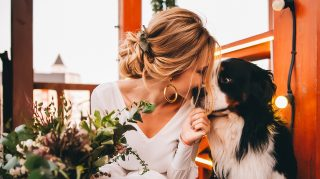 First Look Wedding Photos Dog