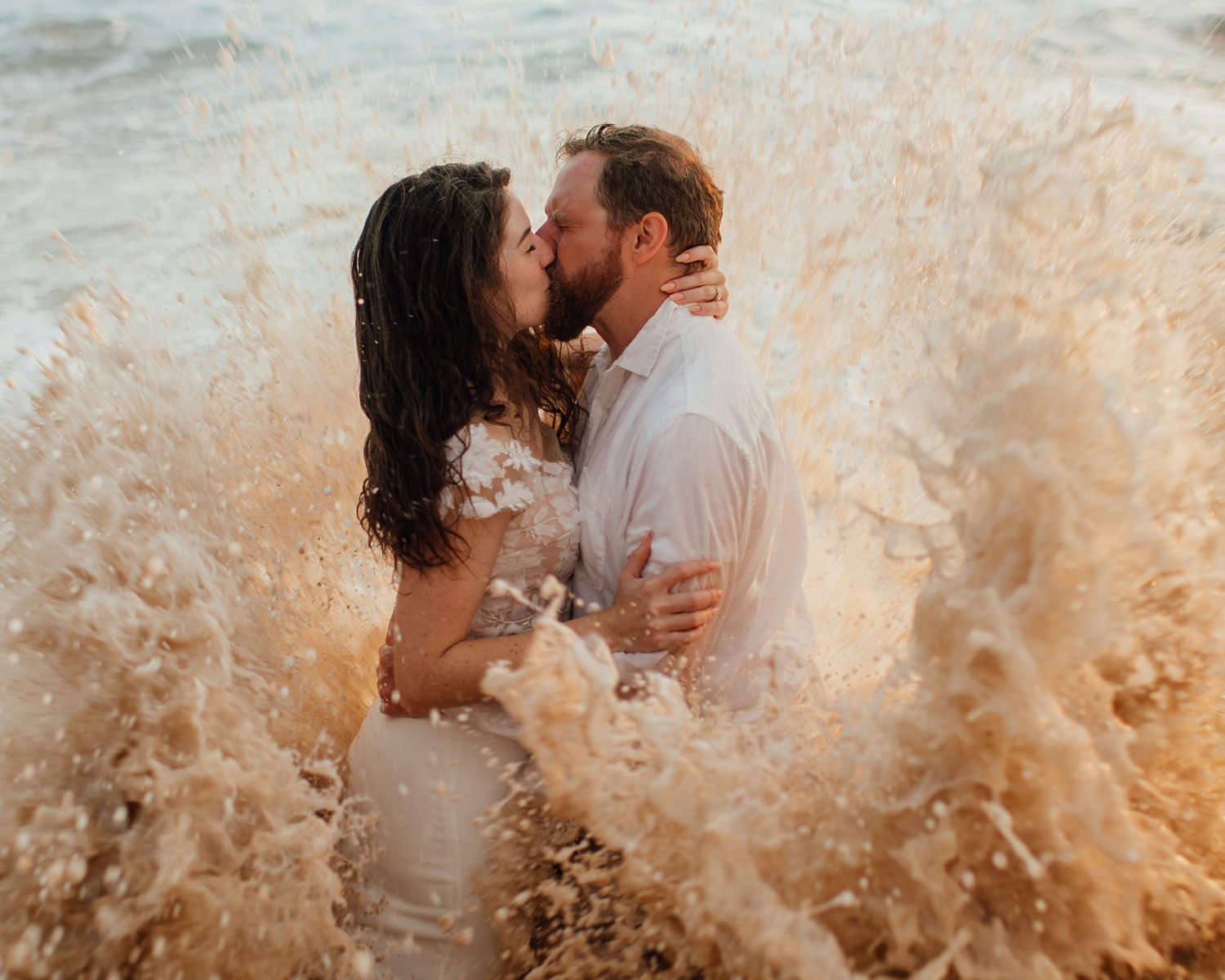 wave crash beach wedding photoshoot