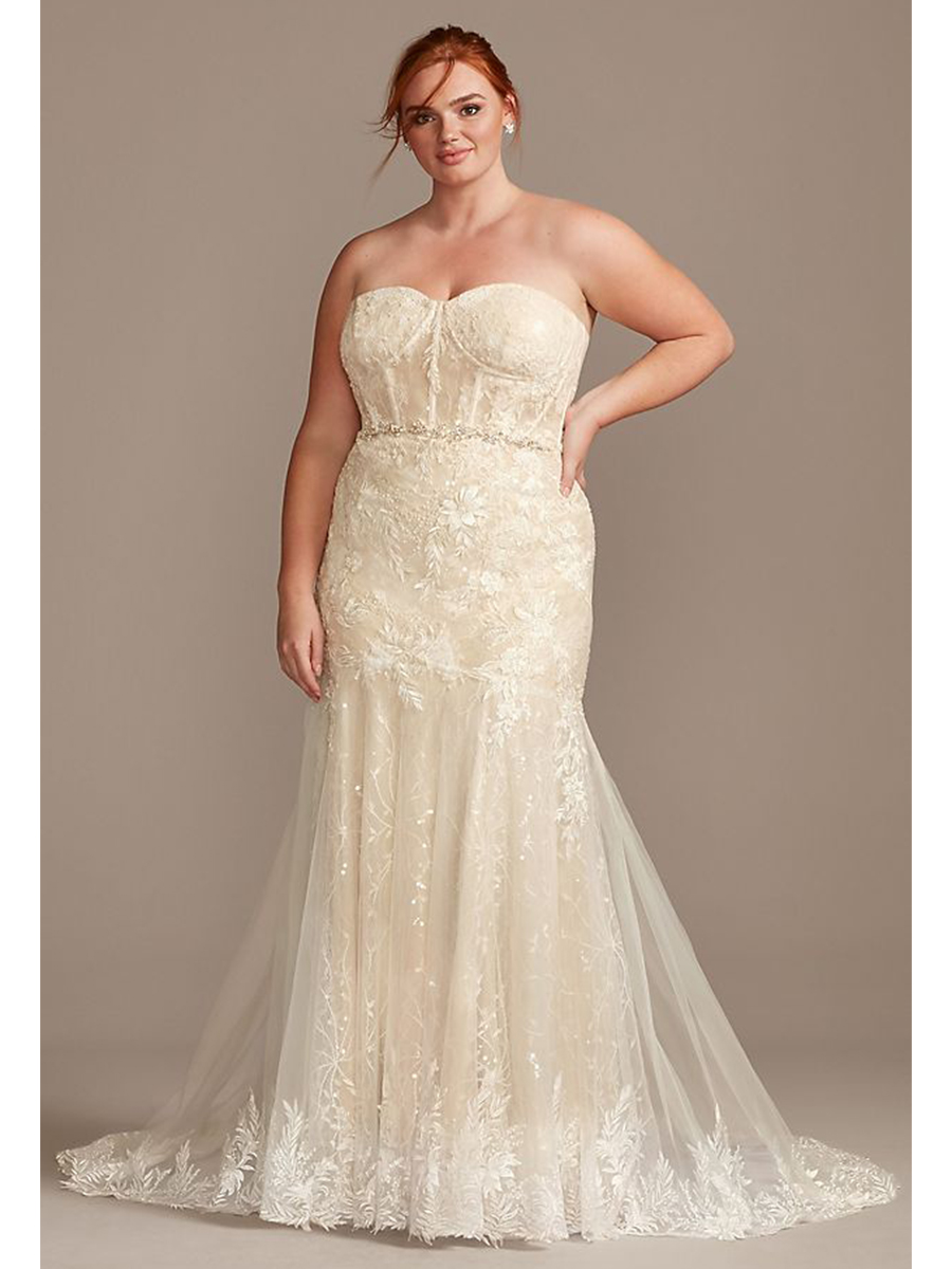 David's Bridal price parity plus size wedding dresses