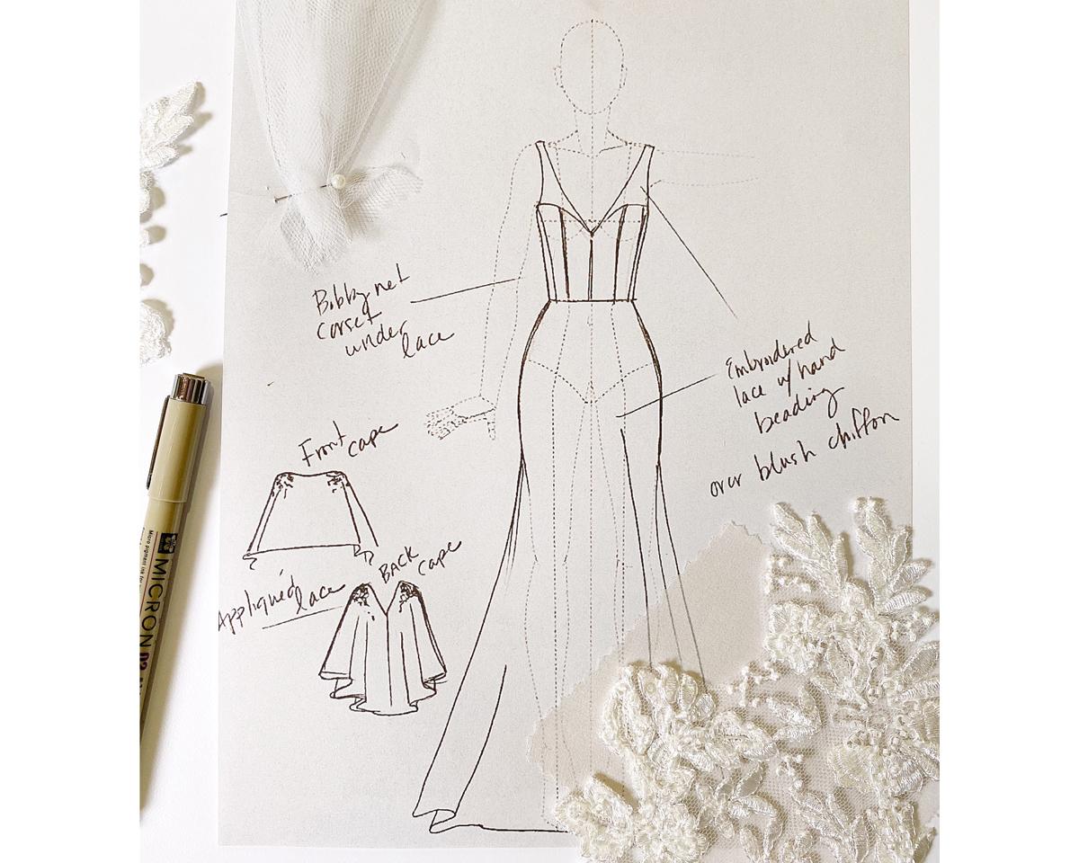 Maddie Marlow wedding dress sketch