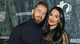Artem Chigvintsev (L) and Nikki Bella